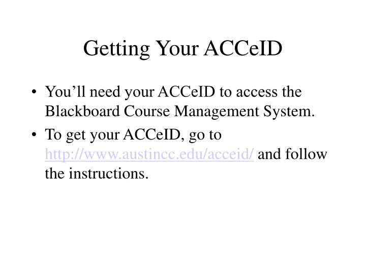 Getting Your ACCeID