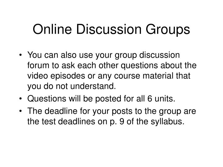 Online Discussion Groups