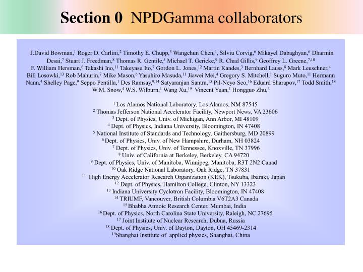 Section 0 npdgamma collaborators