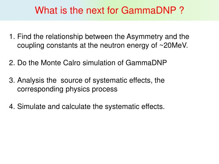 What is the next for GammaDNP ?