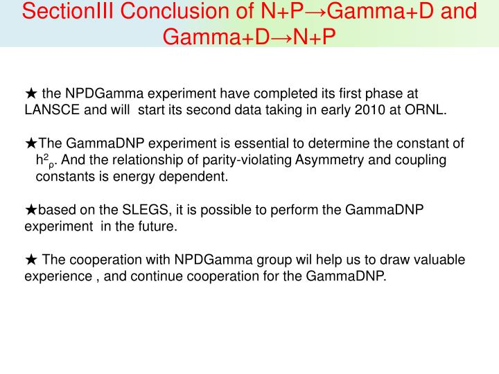 SectionIII Conclusion of N+P