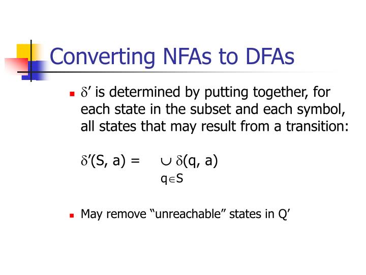 Converting NFAs to DFAs