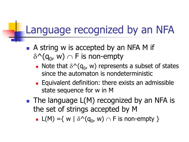 Language recognized by an NFA