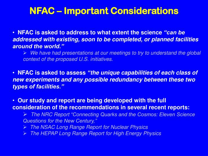 NFAC – Important Considerations