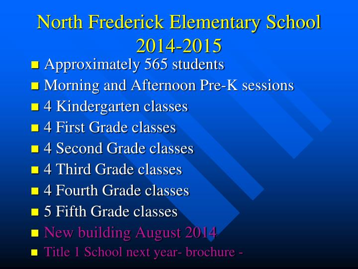 North Frederick Elementary School 2014-2015