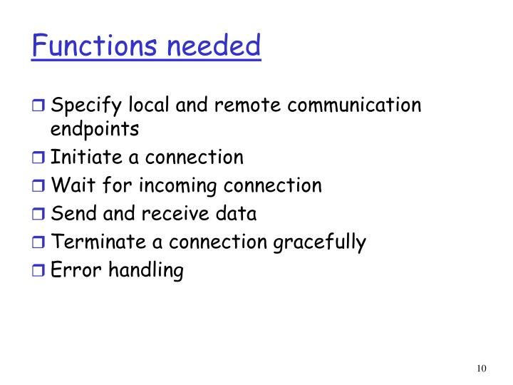 Functions needed