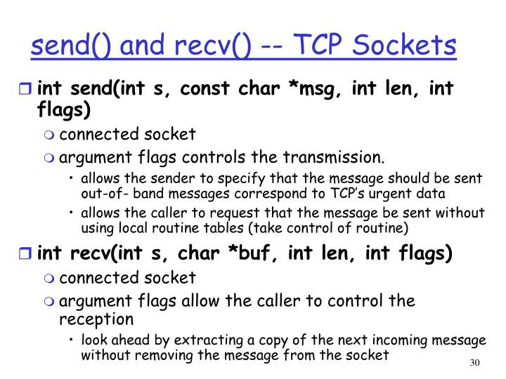 send() and recv() -- TCP Sockets