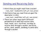 sending and receiving data