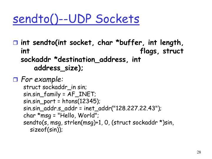 sendto()--UDP Sockets