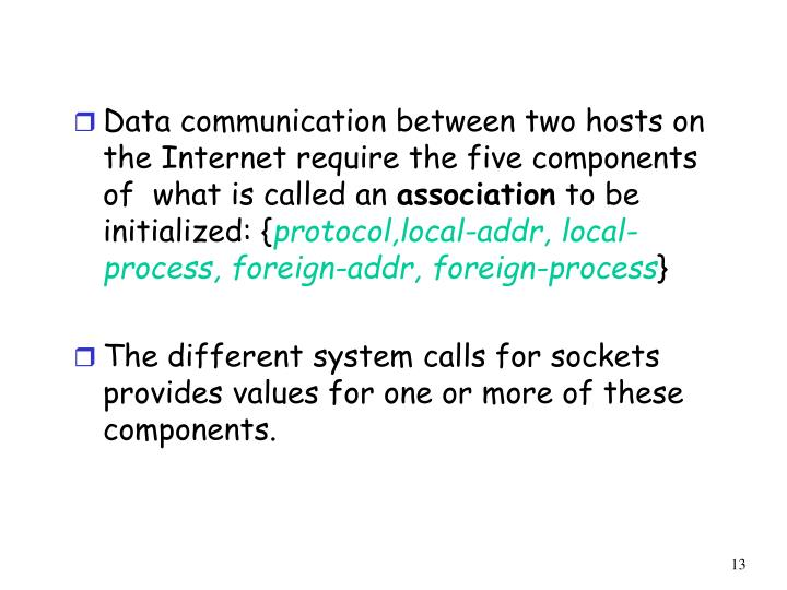 Data communication between two hosts on the Internet require the five components of  what is called an