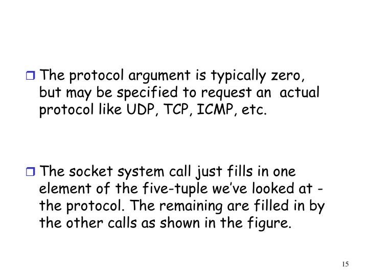 The protocol argument is typically zero, but may be specified to request an  actual protocol like UDP, TCP, ICMP, etc.