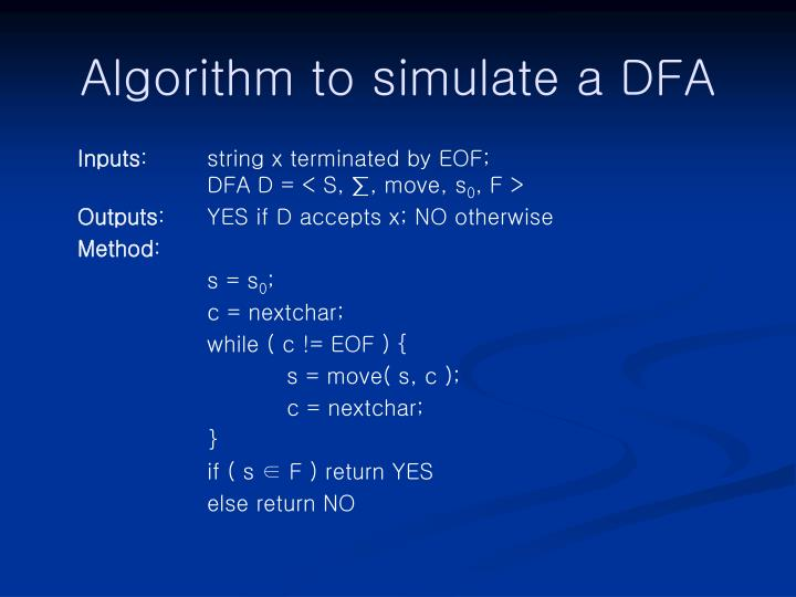 Algorithm to simulate a DFA