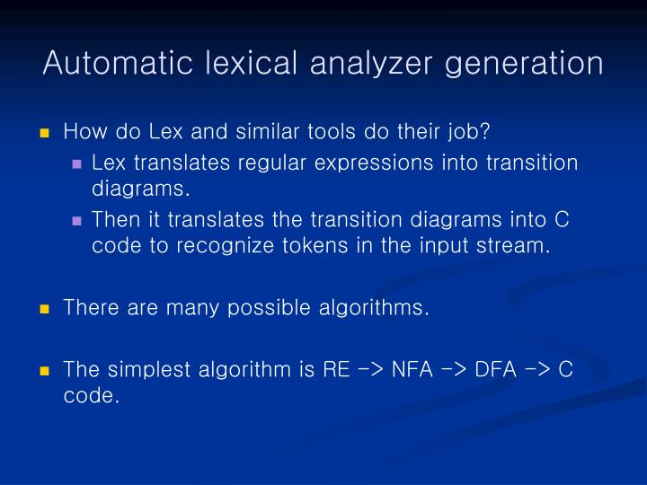 Automatic lexical analyzer generation