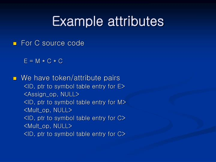Example attributes