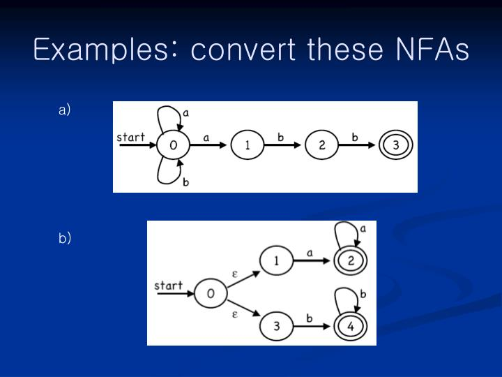 Examples: convert these NFAs