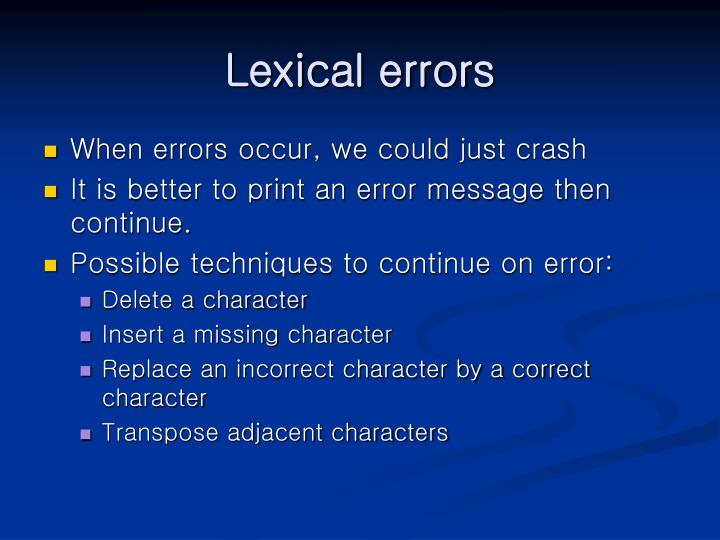 Lexical errors