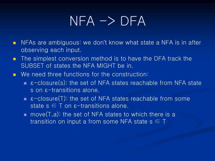 NFA -> DFA