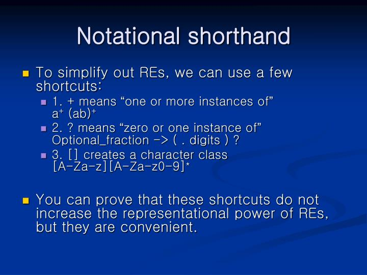 Notational shorthand