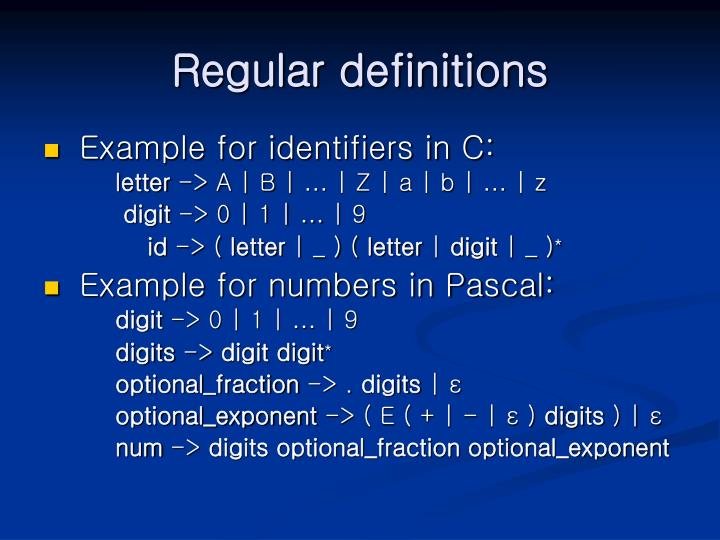 Regular definitions