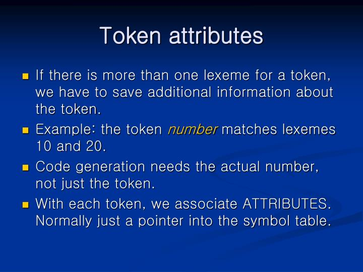 Token attributes