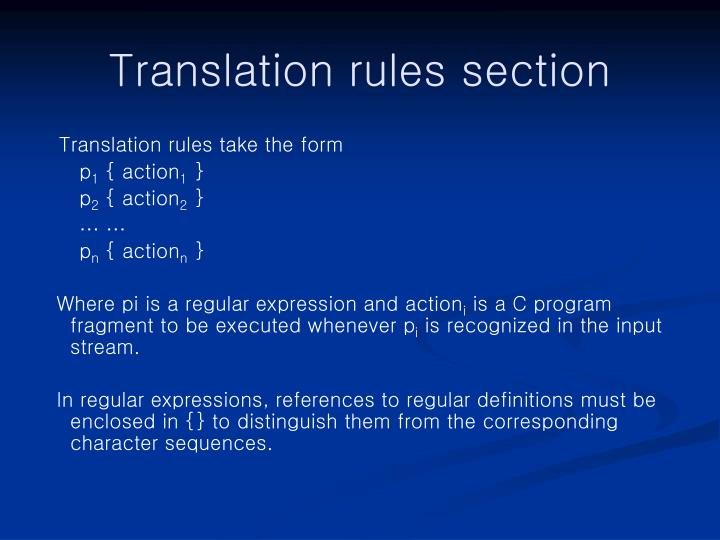 Translation rules section