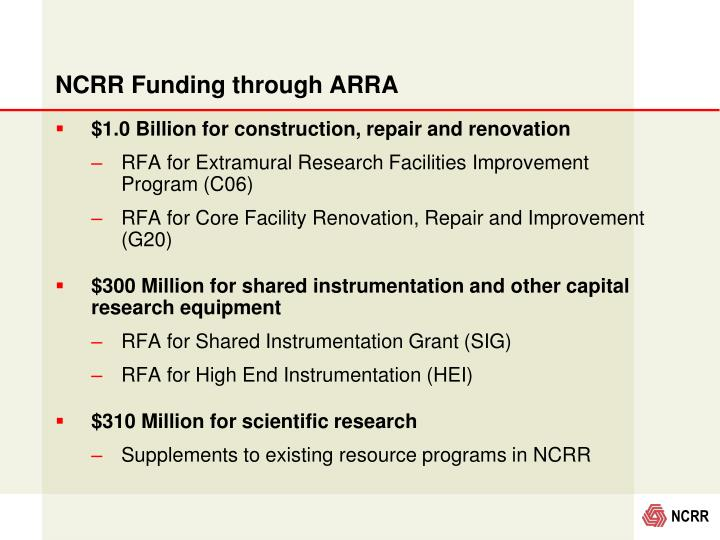 NCRR Funding through ARRA