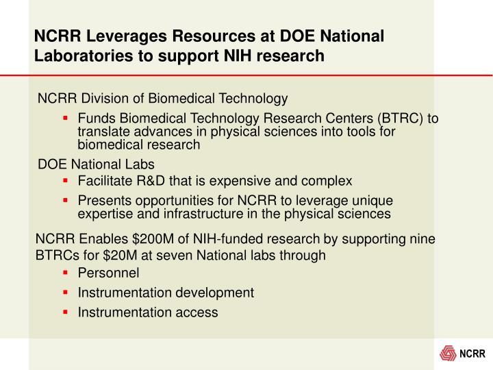 NCRR Leverages Resources at DOE National Laboratories to support NIH research