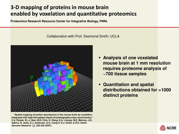 """Spatial mapping of protein abundances in the mouse brain by voxelation integrated with high-throughput liquid chromatography-mass spectrometry.""  V.A. Petyuk, W.-J. Qian, M.H. Chin, H. Wang, E.A. Livesay, M.E. Monroe, J.N. Adkins, N. Jaitly, D.J. Anderson, D.G. Camp II, D.J. Smith, & R.D. Smith."