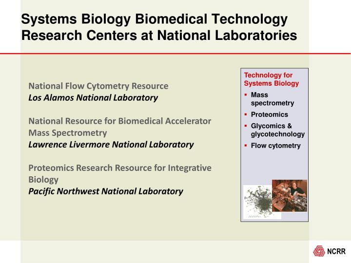 Systems Biology Biomedical Technology Research Centers at National Laboratories