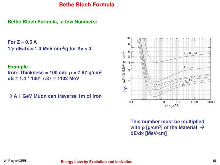 Bethe Bloch Formula