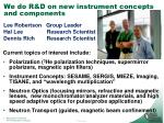 we do r d on new instrument concepts and components