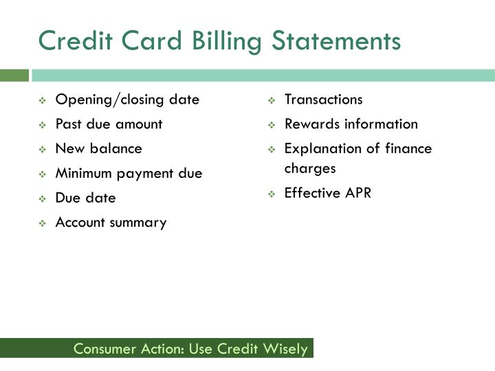 Credit Card Billing Statements