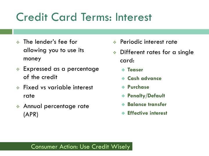 Credit Card Terms: Interest