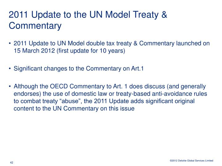 2011 Update to the UN Model Treaty & Commentary