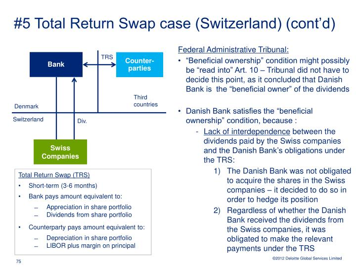 #5 Total Return Swap case (Switzerland) (cont'd)