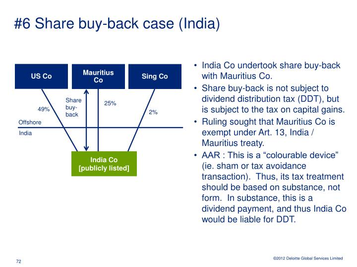 #6 Share buy-back case (India)