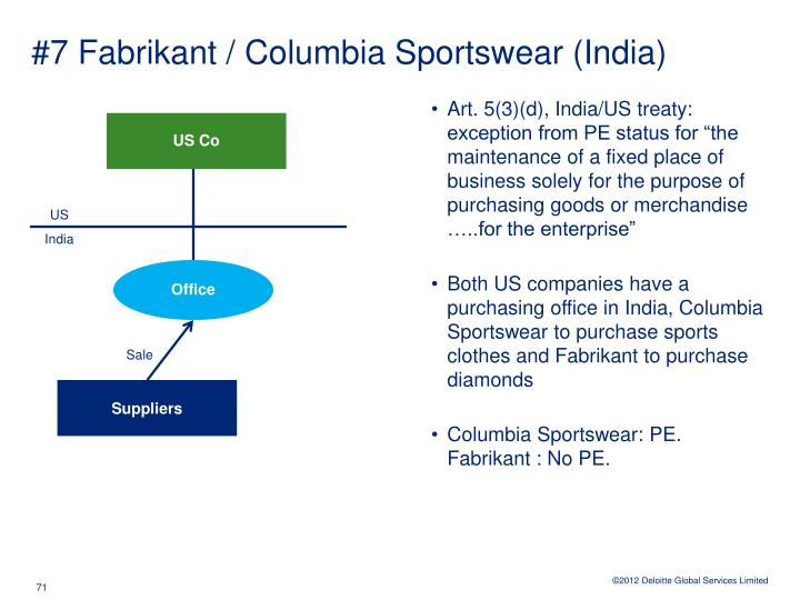 #7 Fabrikant / Columbia Sportswear (India)