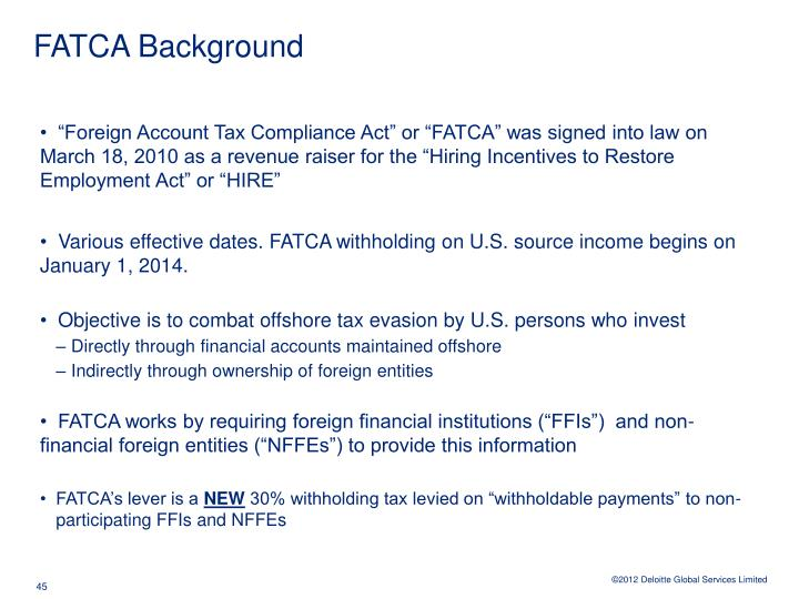 FATCA Background