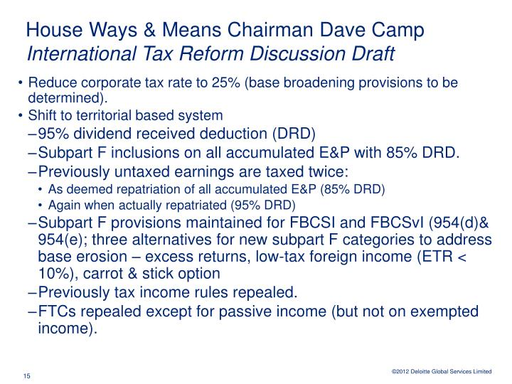 House Ways & Means Chairman Dave Camp