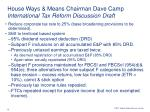 house ways means chairman dave camp international tax reform discussion draft