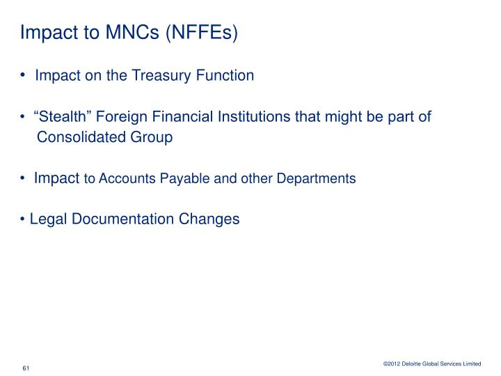 Impact to MNCs (NFFEs)
