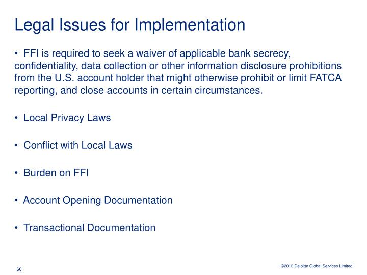 Legal Issues for Implementation