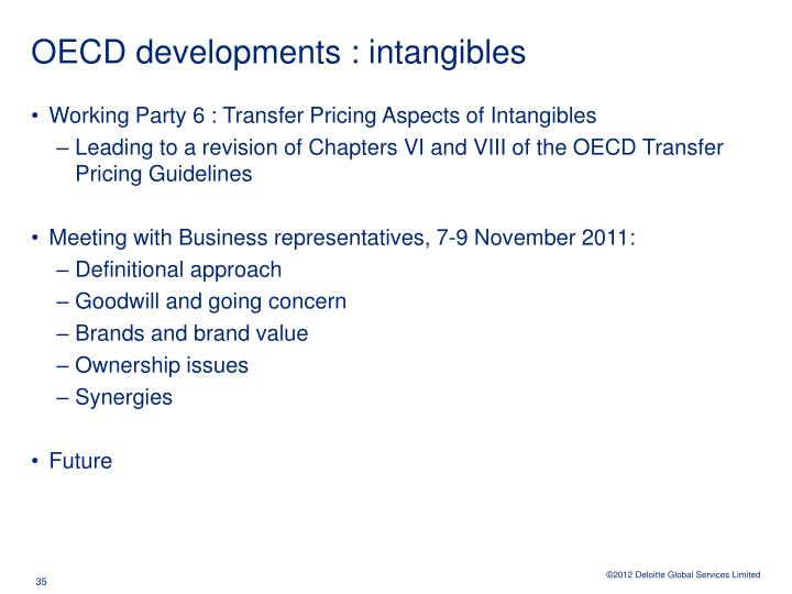 OECD developments : intangibles