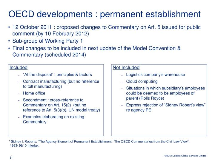 OECD developments : permanent establishment