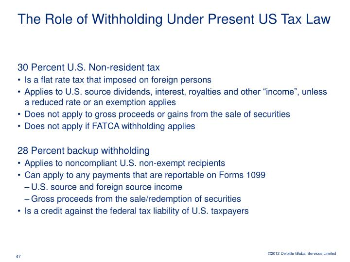 The Role of Withholding Under Present US Tax Law