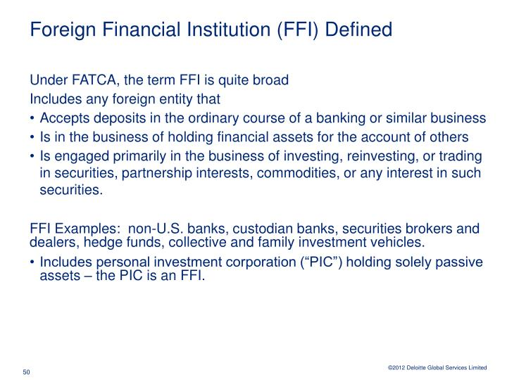 Foreign Financial Institution (FFI) Defined