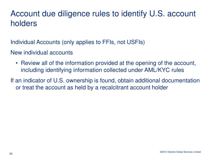 Account due diligence rules to identify U.S. account holders
