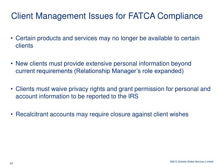 Client Management Issues for FATCA Compliance