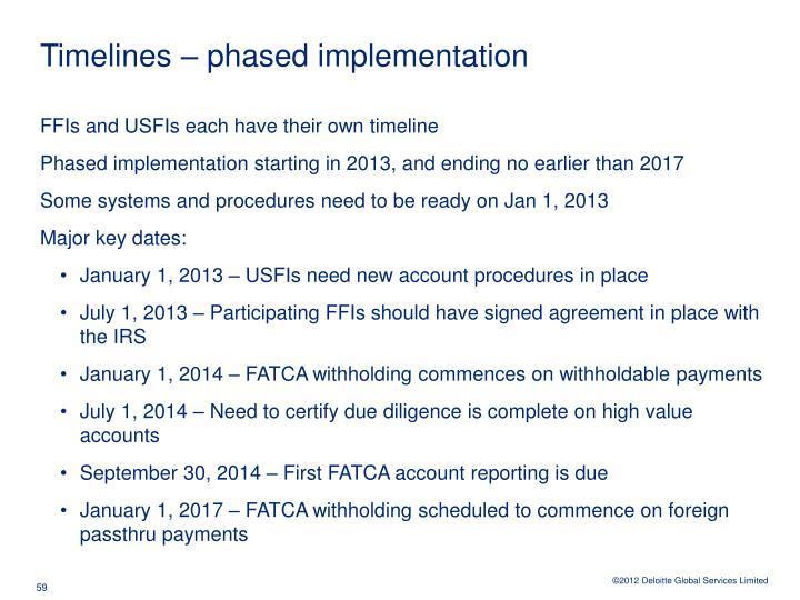 Timelines – phased implementation