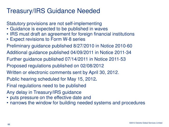 Treasury/IRS Guidance Needed
